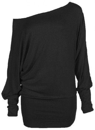 Batwing Top Plain Long Sleeve Off Shoulder Big Size Tshirt Top - ZJ Clothes