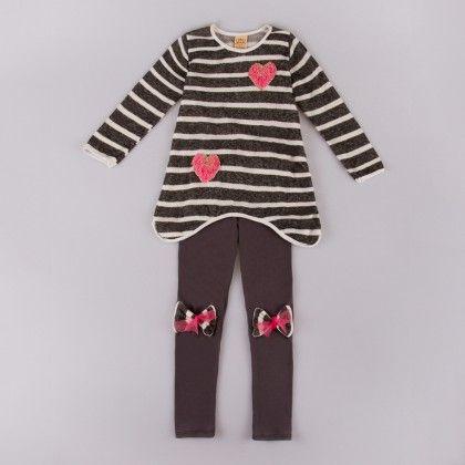 Black/ivory Striped Long Sleeve Tunic W/legging - Mia Belle Baby