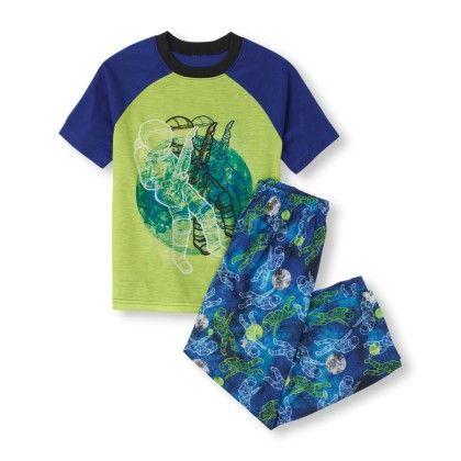 Short Sleeve Astronaut Rockstar Top & Printed Pants Pj Set - The Children's Place