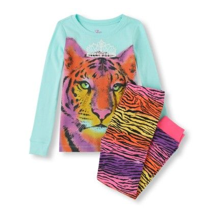 Long Sleeve Rainbow Tiger Top & Tiger Print Pants Pj Set - The Children's Place