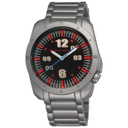 Vernier Men's Round Red Dial Matt Silver Bracelet Watch - Vernier Watches