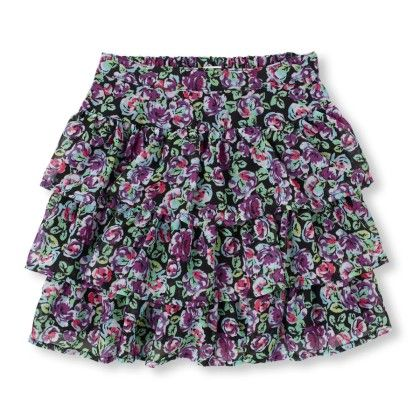Floral Print Tiered Skater Skirt - The Children's Place