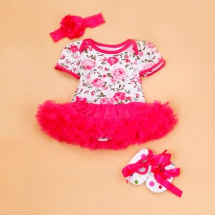 Pink Floral Print Tutu Romper Set With Shoes And Headband - The Aria Collection