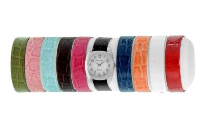 Vernier Women's 10 Strap Interchangeable Set Mother Of Pearl Face - Vernier Watches