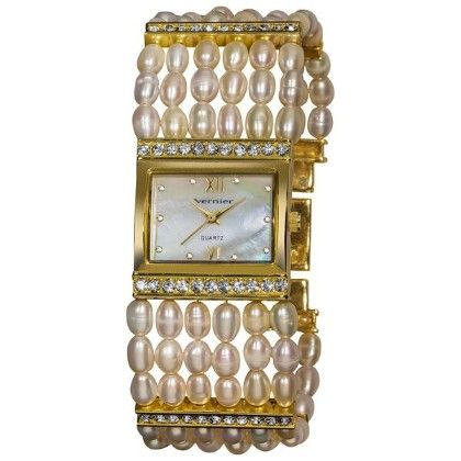 Women's Rectangular Gold Case Fresh Water Pearl Bracelet Watch - Vernier Watches