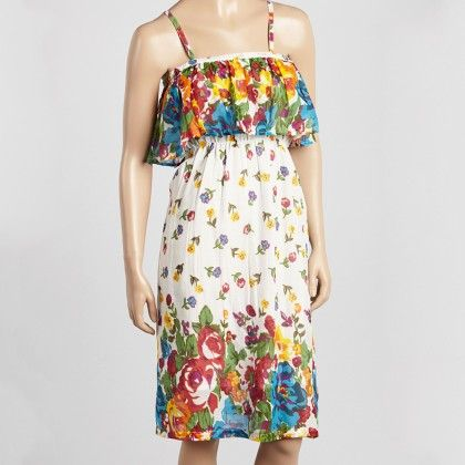 Red & Blue Floral Ruffle A-line Dress - Women - Yo Baby