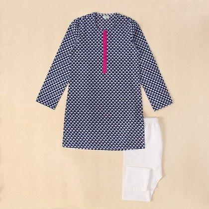 Navy Blue Small Triangle Print Cotton Kurta With White Pyjama - Payal Singhal