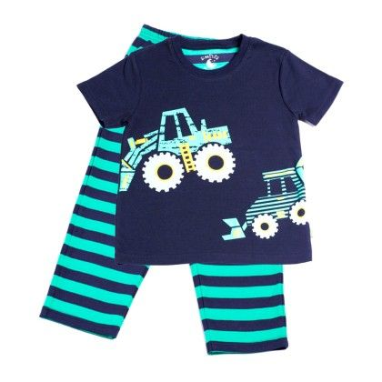 Dark Navy With Caterpillar Placement Print On Top - Mackily