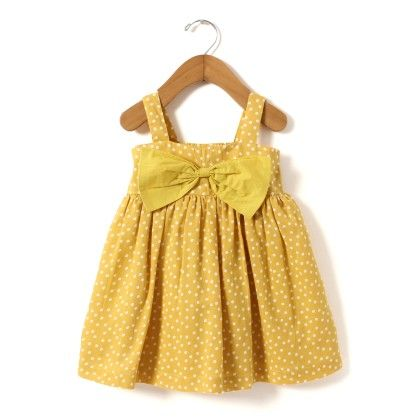 Yellow Dot Print Dress With Big Bow At Front - Hugs & Tugs