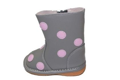 Grey With Light Pink Polka Dot Squeaky Boots - Laniecakes