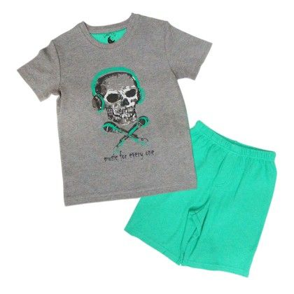 Charcoal Melange With Skull Placement Print On Top And Pool Green For Bottom - Mackily