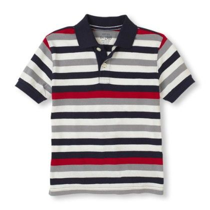 Short Sleeve Contrast Stripes Polo - Red - The Children's Place