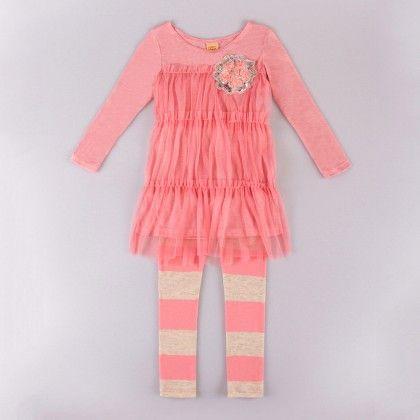 Pink/black Mesh Tunic & Matching Leggings - Mia Belle Baby