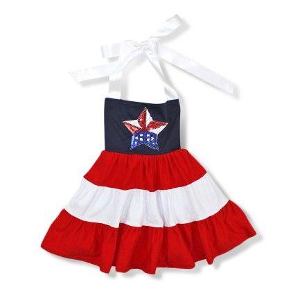 Red, White & Blue Star Halter Dress - AdoraBelle