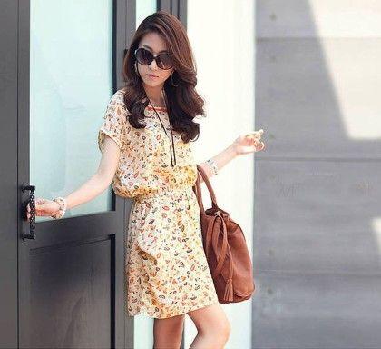 Tunic Floral Short Sleeve Chiffon Dress - Overmal Dress