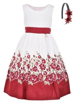 Elegant White Summer Dress With Headband-white And Red - BownBee
