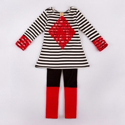 Black/off White Long Sleeve Striped A-line Tunic W/lace Trim & Color Block Leggings - Mia Belle Baby