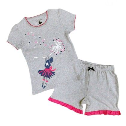 Grey Marl With Dancing Girl Placement Print On Top And Hot Pink On Leg Frill - Mackily