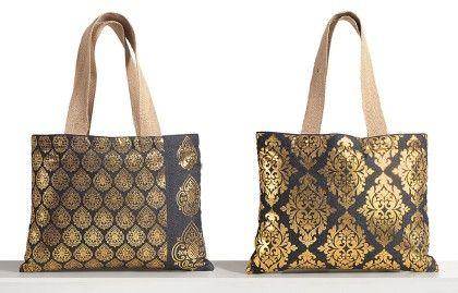 Denim Foil Printed Jute Large Bag (set Of 2 Pcs) - Swayam