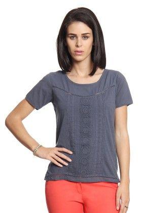 Women Light Blue T-shirt With Lace Panel - Cotton World