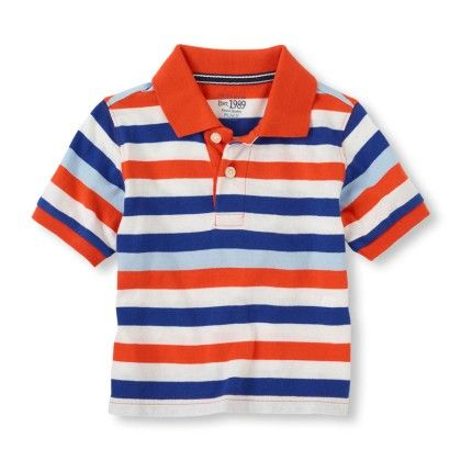 Short Sleeve Contrast Stripes Polo - Flame - The Children's Place