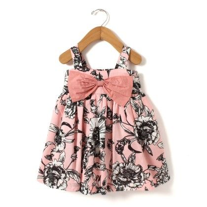 Fluroscent Pink Print Dress With Big Bow At Front - Hugs & Tugs