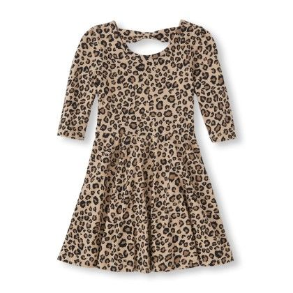 Elbow Sleeve Printed Bow-back Skater Dress - The Children's Place