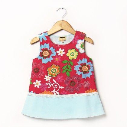 Floral Print Dress With Blue Band At Bottom - Hugs & Tugs