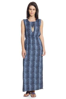 L-maxi Dress Sleeveless Side Slits On Both Sides Elasticated Waist Back Keyhole Opening - CottonWorld