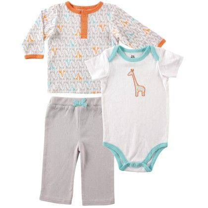 Yoga Sprout Long Sleeve Tee Top, Pants, And Bodysuit Set, Giraffe