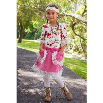 Crème/dusty Rose Skirt With Ornate Pockets And Floral Long Sleeve Top - Mia Belle Baby