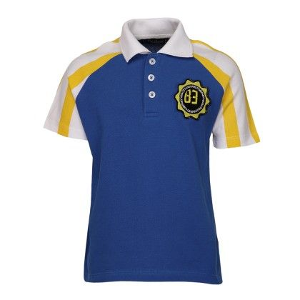 Cool Quotient Stripes Sleeves Polo-royal Blue/yellow