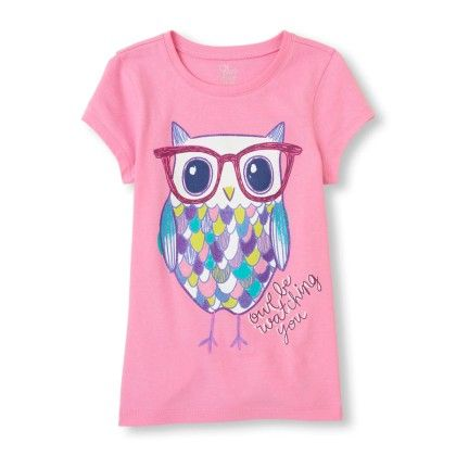 Short Sleeve Pretty Owl 'owl Be Watching You' Graphic Tee - The Children's Place