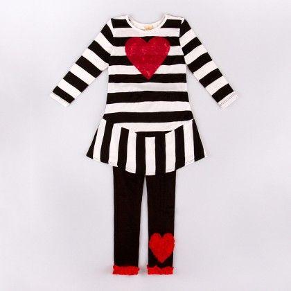 Black/white Striped Long Sleeve Tunic W/ Legging - Mia Belle Baby