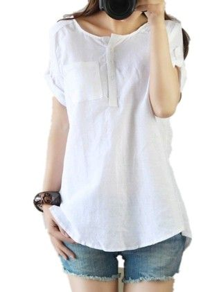 Casual Loose Cool Linen Cotton Short Sleeve Shirt Blouse Tops - RSP