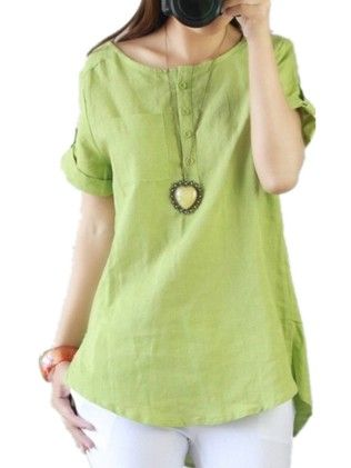 Casual Loose Cool Linen Cotton Short Sleeve Shirt Blouse Tops - Green - RSP