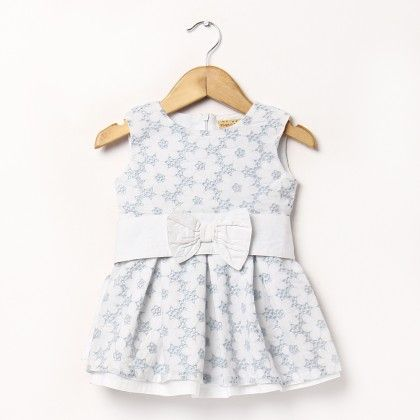 Light Blue Schiffly Dress With Bow In Front - Hugs & Tugs