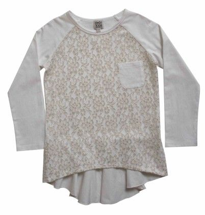Raglan Tee With Pocket,front Lace Overlay,off-white & Lace - Dedo Kids