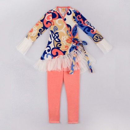 Coral/royal Ruffled Wrap Tunic And Leggings - Mia Belle Baby