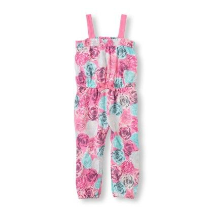 Floral Print Banded Jumpsuit  - Pink - The Children's Place