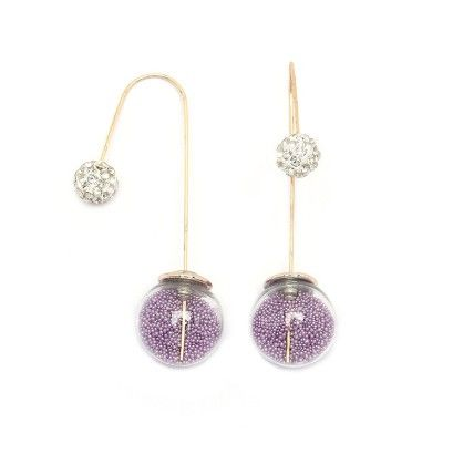 Lavender Beads Needle Drop Earrings - Miss Flurrty