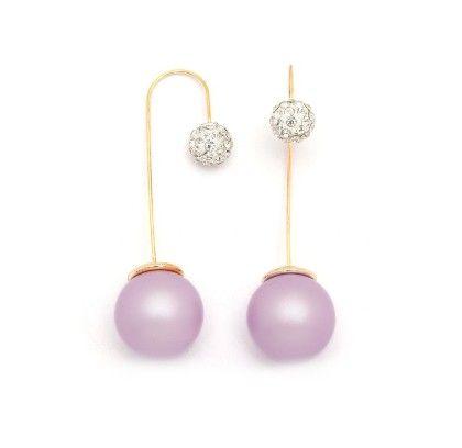 Lavender Pearl Needle Drop Earrings - Miss Flurrty