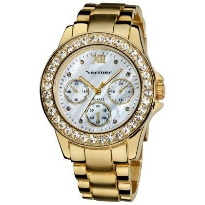 Women's Dazzling Gold Tone Boyfriend Mother Of Pearl Faux-chrono Bracelet Watch - Vernier Watches