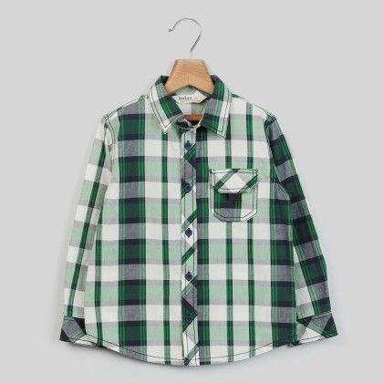 White/green Check Shirt Green Check - Kid - Beebay