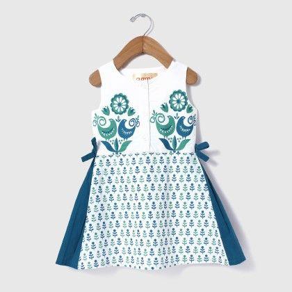 Block Printed Tie-up Dress Blue - Aomi By Appleofmyi