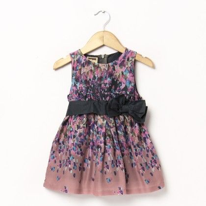 Satin Brown Print Dress With Bows On Front Side - Hugs & Tugs