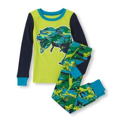Long Sleeve Dino Print Top & Pants Pj Set - The Children's Place