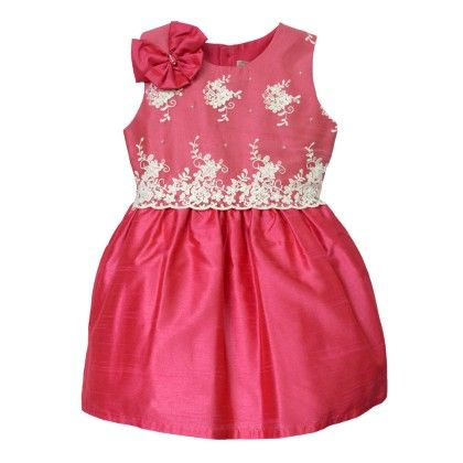 Pink And White Lace Girl's Party Dress - Petals