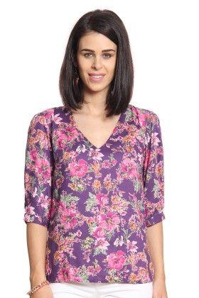 Women Purple Printed V-neck Top - Cotton World
