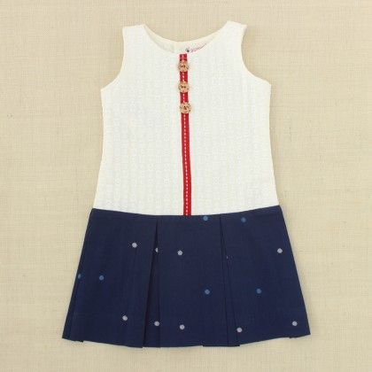 Off White & Blue Dress With Red Tape - Punkster